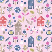 Lewis & Irene - Hann's House - 5808 - Modern Floral & Houses on Pink  - A276.2 - Cotton Fabric